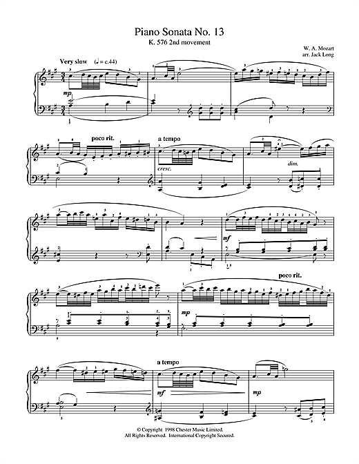 Download Wolfgang Amadeus Mozart 'Piano Sonata No.13' Digital Sheet Music Notes & Chords and start playing in minutes