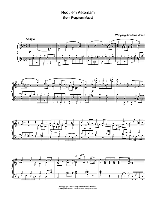 Wolfgang Amadeus Mozart Requiem Aeternam (from Requiem) sheet music notes and chords