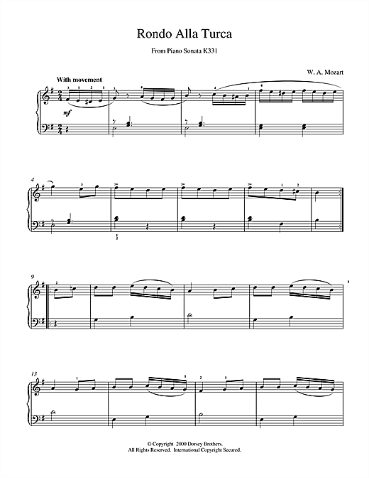 Wolfgang Amadeus Mozart Rondo Alla Turca, from the Piano Sonata A Major, K331 sheet music notes and chords