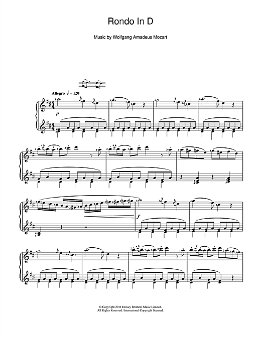 Download Wolfgang Amadeus Mozart 'Rondo In D' Digital Sheet Music Notes & Chords and start playing in minutes