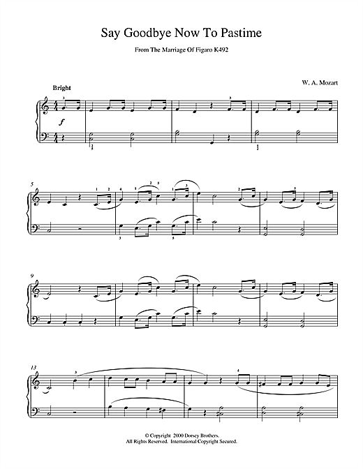 Wolfgang Amadeus Mozart Say Goodbye Now To Pastime From The Marriage Of Figaro K492 sheet music notes and chords