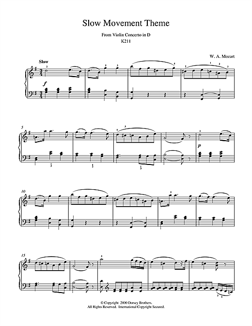 Wolfgang Amadeus Mozart Slow Movement Theme from Violin Concerto in D sheet music notes and chords
