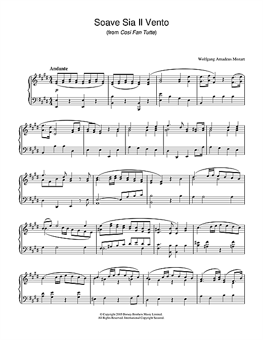 Download Wolfgang Amadeus Mozart 'Soave Sia Il Vento (from Cosi Fan Tutte)' Digital Sheet Music Notes & Chords and start playing in minutes