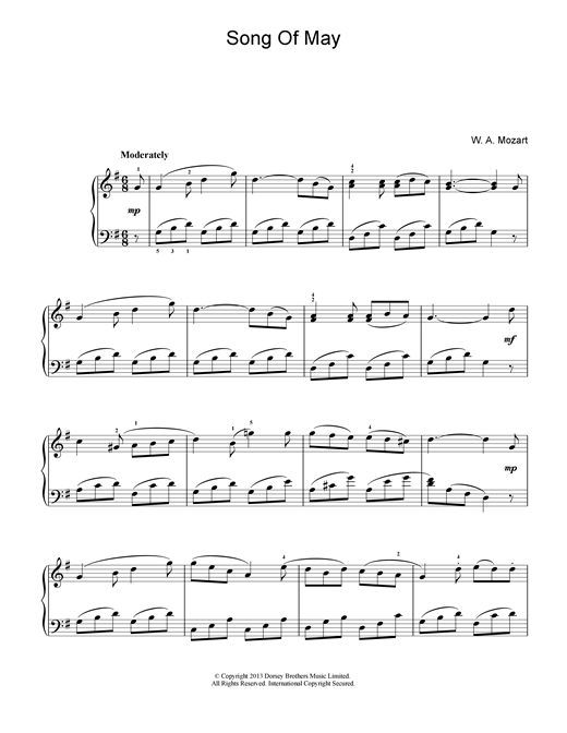 Download Wolfgang Amadeus Mozart 'Song Of May' Digital Sheet Music Notes & Chords and start playing in minutes