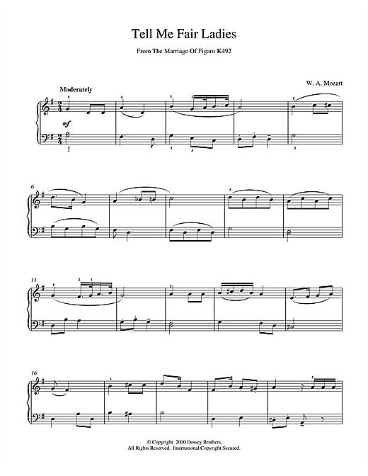 Wolfgang Amadeus Mozart Tell Me Fair Ladies sheet music notes and chords