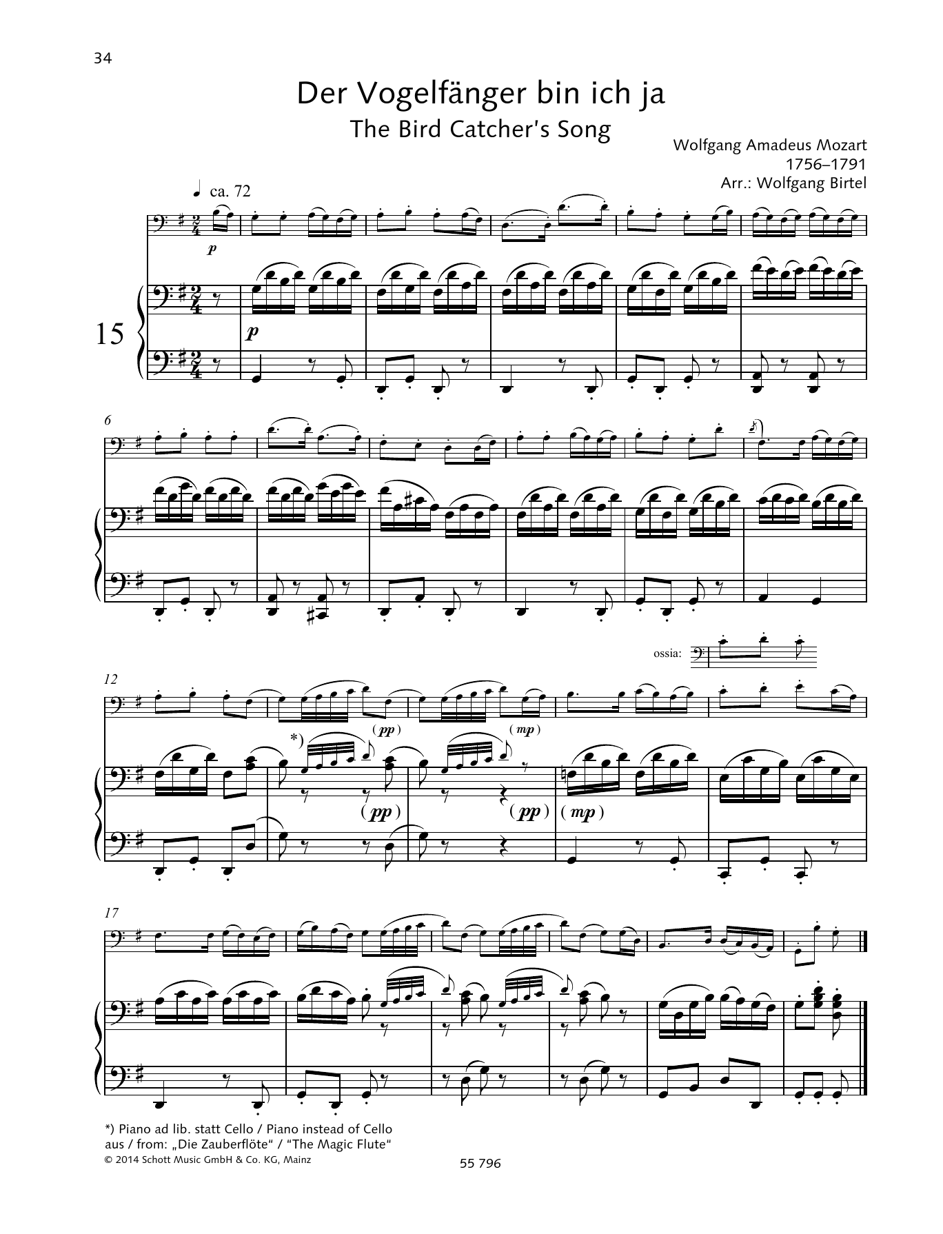 Wolfgang Amadeus Mozart The Bird Catcher's Song sheet music preview music notes and score for String Solo including 2 page(s)