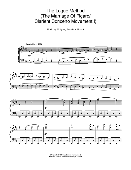 Download Wolfgang Amadeus Mozart 'The Logue Method (The Marriage Of Figaro/Clarient Concerto Movement I)' Digital Sheet Music Notes & Chords and start playing in minutes