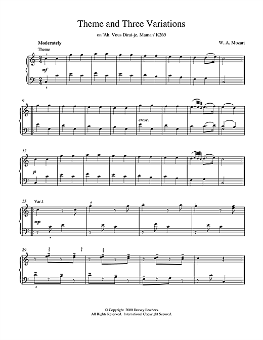 Download Wolfgang Amadeus Mozart 'Theme and Three Variations on 'Ah, Vous Dirai-je, Maman' K265' Digital Sheet Music Notes & Chords and start playing in minutes