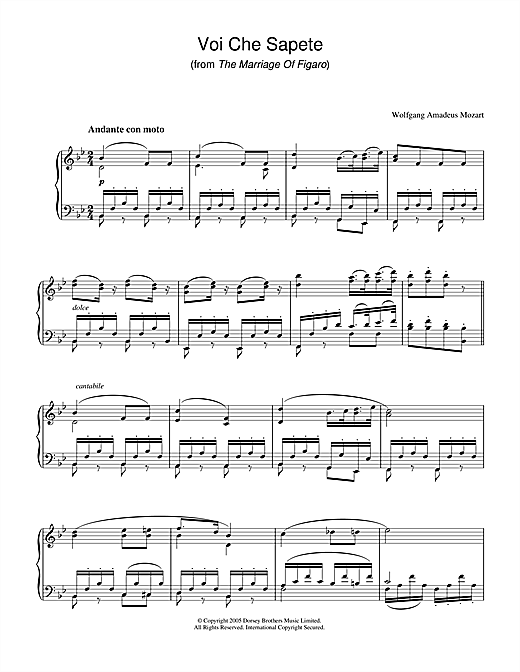 Download Wolfgang Amadeus Mozart 'Voi Che Sapete (from The Marriage Of Figaro)' Digital Sheet Music Notes & Chords and start playing in minutes