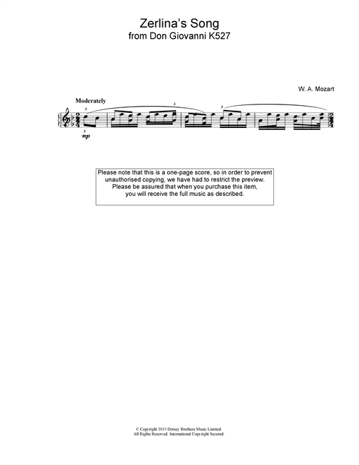 Wolfgang Amadeus Mozart Zerlina's Song From Don Giovanni K527 sheet music notes and chords