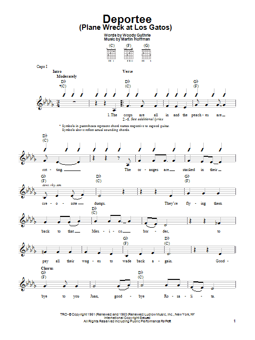 Woody Guthrie Deportee (Plane Wreck At Los Gatos) sheet music preview music notes and score for Easy Guitar including 2 page(s)