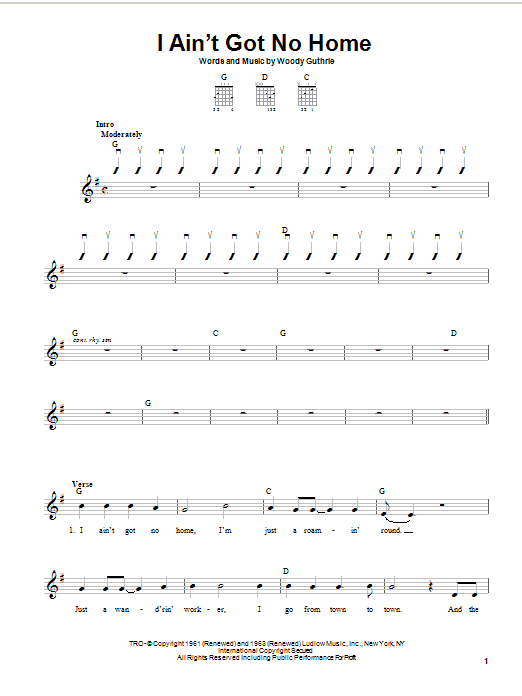 Woody Guthrie I Ain't Got No Home sheet music preview music notes and score for Easy Guitar including 3 page(s)
