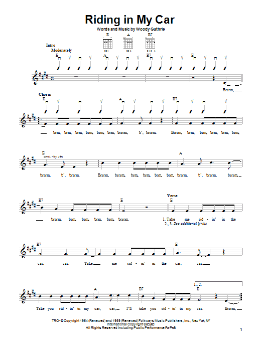 Woody Guthrie Riding In My Car sheet music preview music notes and score for Easy Guitar including 3 page(s)