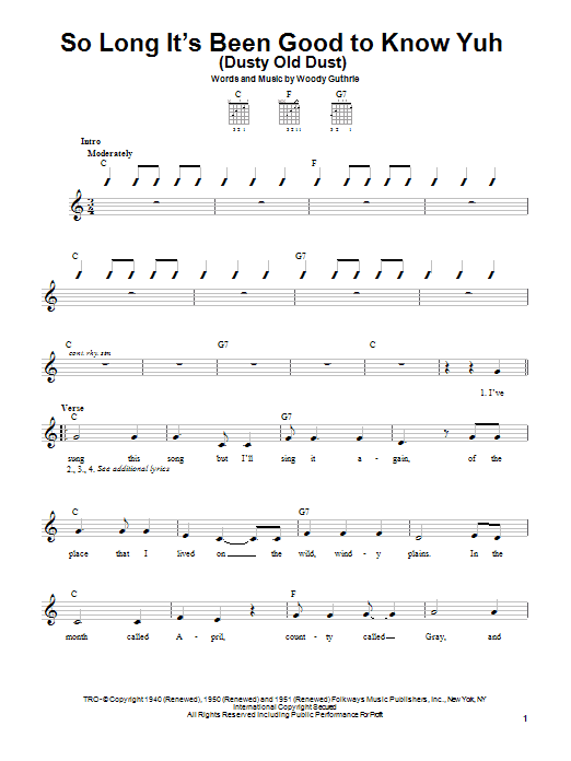 Woody Guthrie So Long It's Been Good To Know Yuh (Dusty Old Dust) sheet music preview music notes and score for Easy Guitar including 4 page(s)
