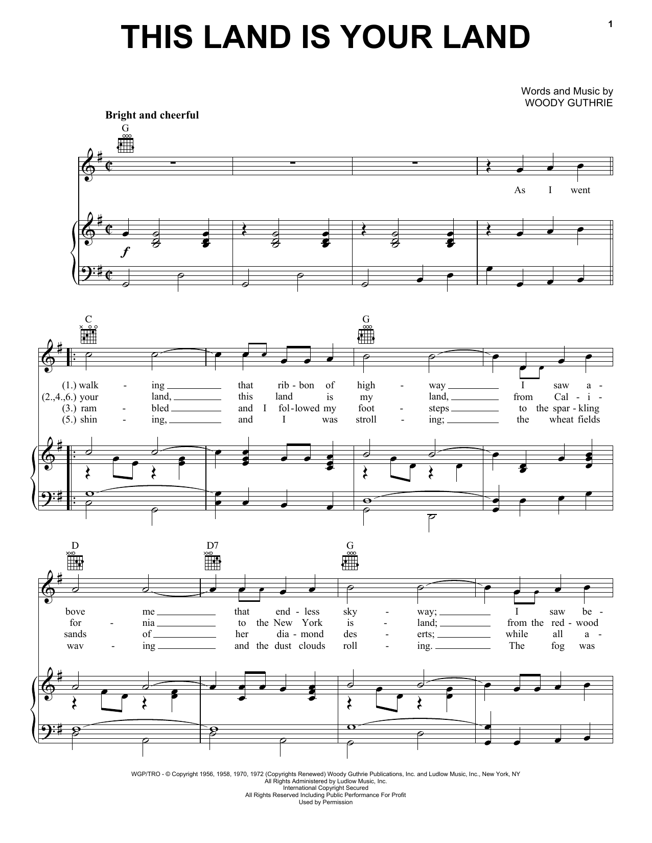 Woody Guthrie This Land Is Your Land sheet music preview music notes and score for Guitar Tab including 3 page(s)