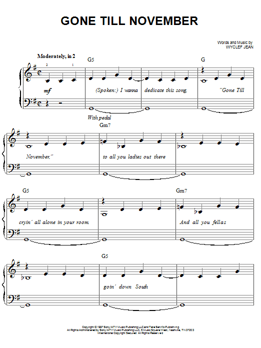 Download Wyclef Jean 'Gone Till November' Digital Sheet Music Notes & Chords and start playing in minutes