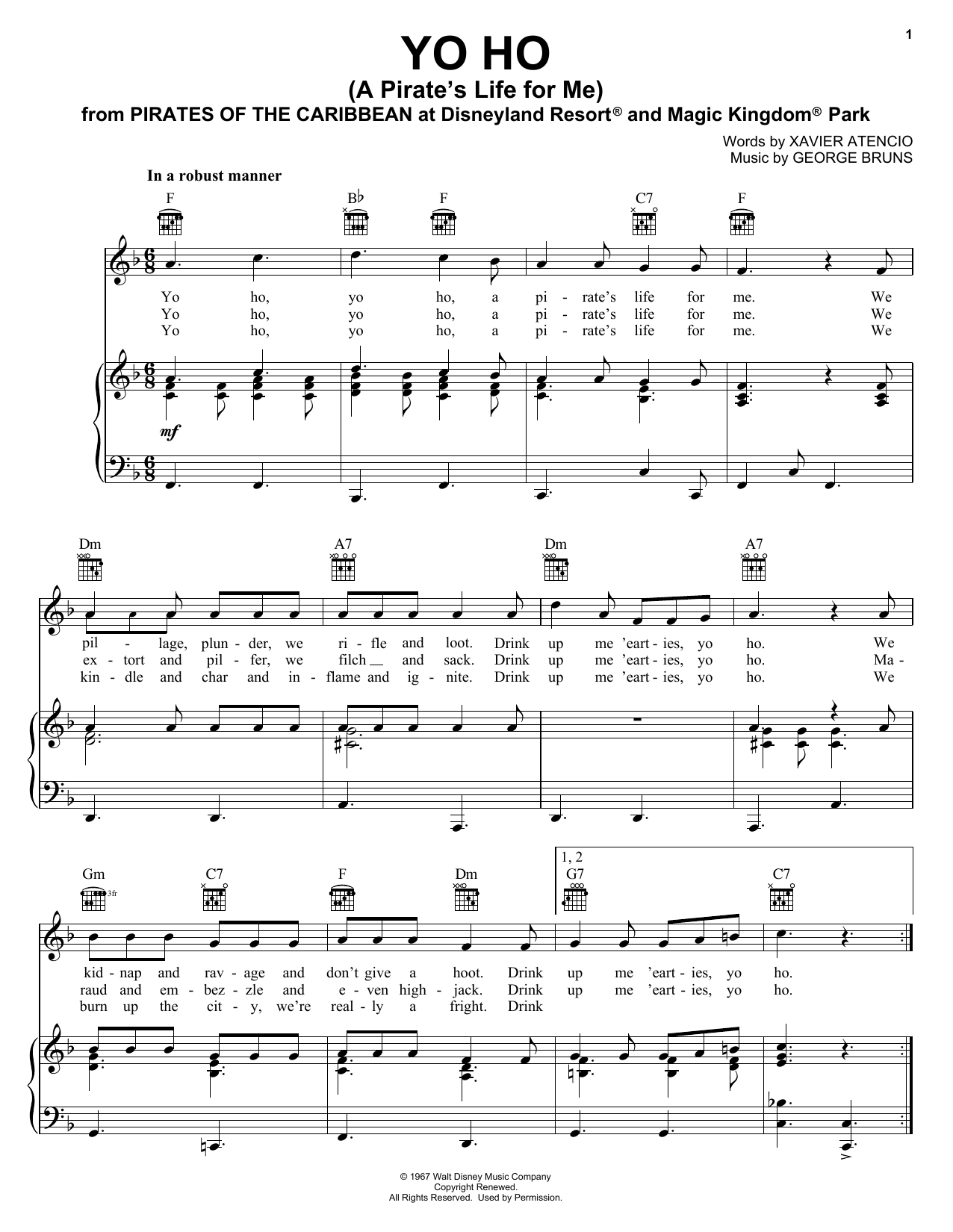 Xavier Atencio Yo Ho (A Pirate's Life For Me) sheet music notes and chords