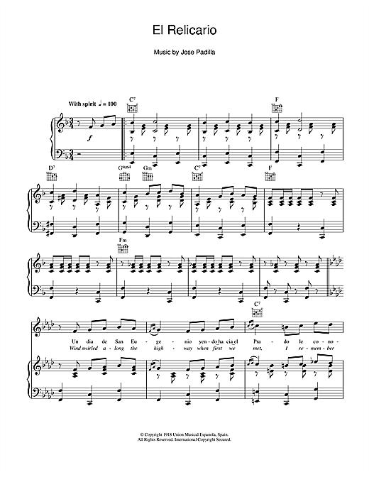 Xavier Cugat El Relicario sheet music notes and chords