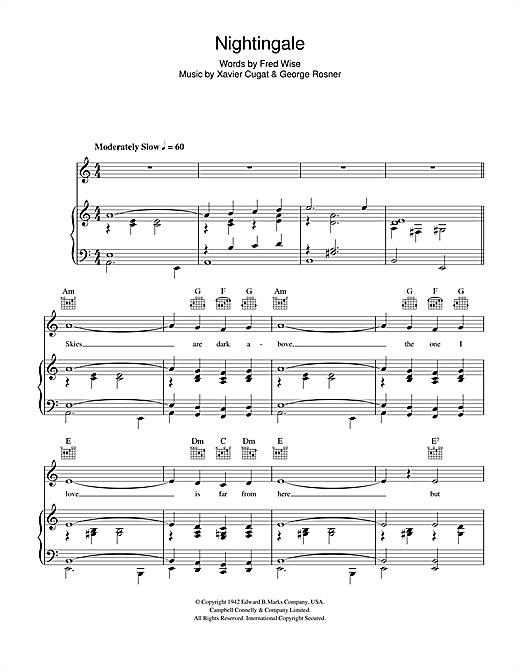 Xavier Cugat Nightingale sheet music notes and chords