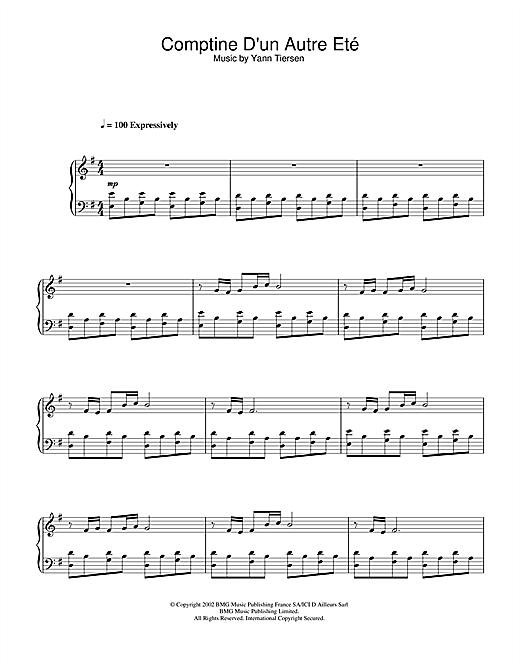Download Yann Tiersen 'Comptine D'un Autre Eté (from Amélie)' Digital Sheet Music Notes & Chords and start playing in minutes