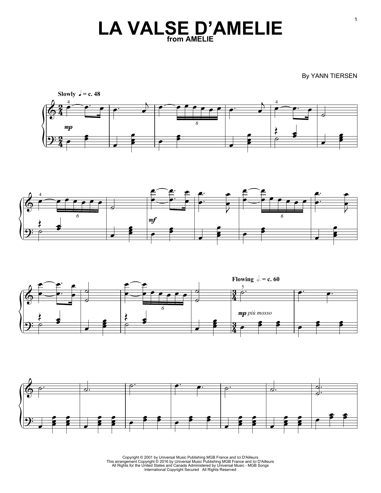 Download Yann Tiersen 'La Valse D'Amelie' Digital Sheet Music Notes & Chords and start playing in minutes