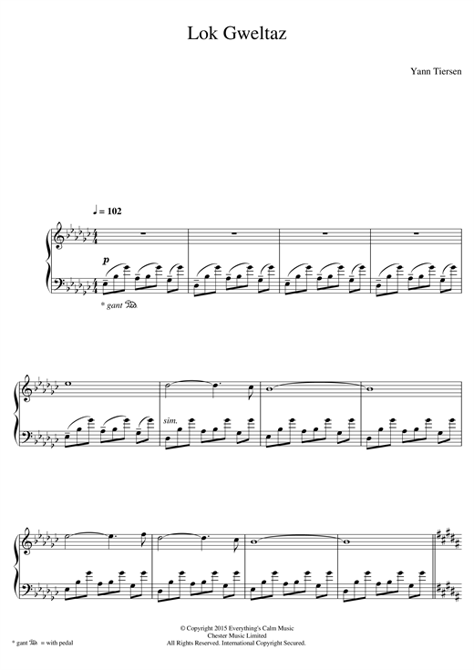 Download Yann Tiersen 'Lok Gweltaz' Digital Sheet Music Notes & Chords and start playing in minutes