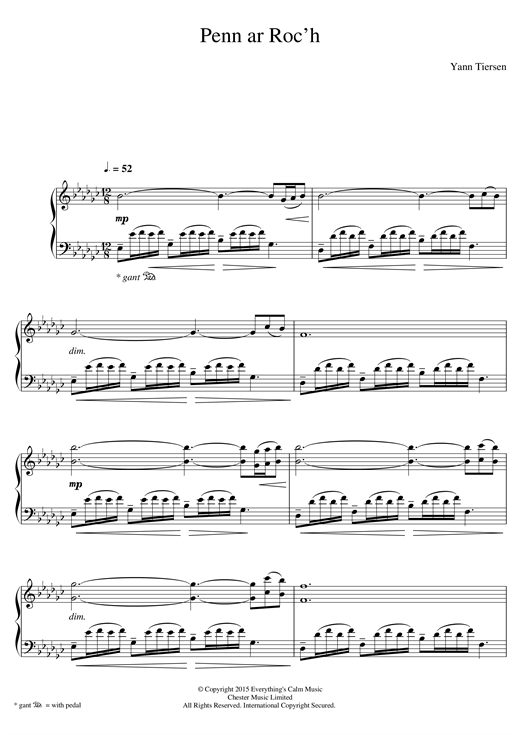 Download Yann Tiersen 'Penn Ar Roc'h' Digital Sheet Music Notes & Chords and start playing in minutes