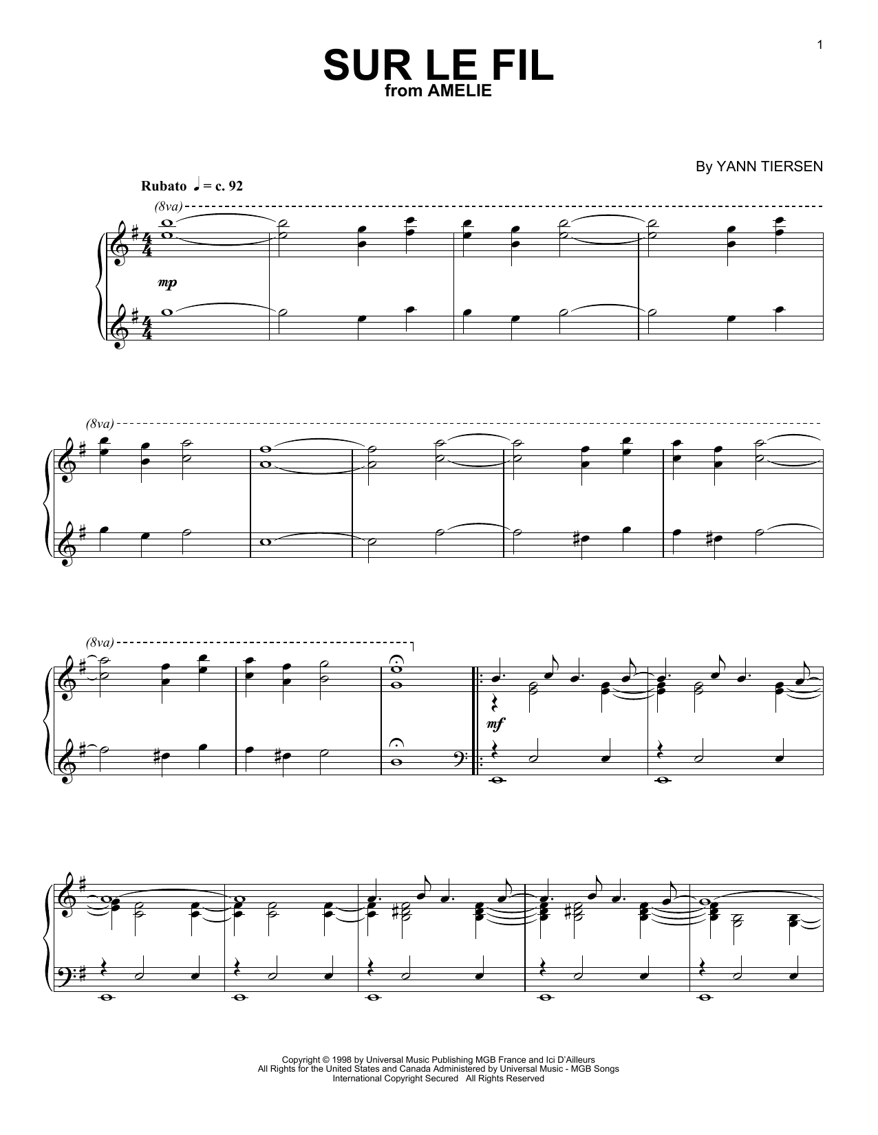 Download Yann Tiersen 'Sur Le Fil' Digital Sheet Music Notes & Chords and start playing in minutes