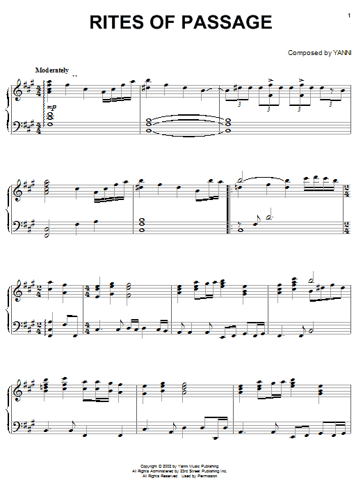 Download Yanni 'Rites Of Passage' Digital Sheet Music Notes & Chords and start playing in minutes