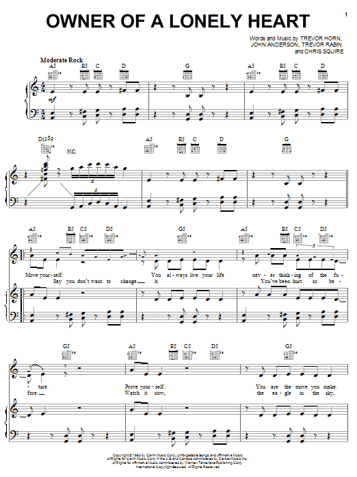 Download Yes 'Owner Of A Lonely Heart' Digital Sheet Music Notes & Chords and start playing in minutes