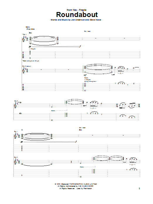 Download Yes 'Roundabout' Digital Sheet Music Notes & Chords and start playing in minutes
