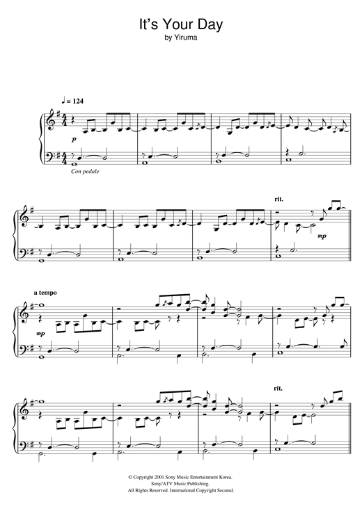 Download Yiruma 'It's Your Day' Digital Sheet Music Notes & Chords and start playing in minutes