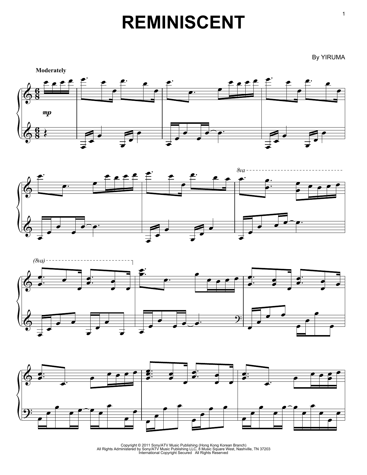 Download Yiruma 'Reminiscent' Digital Sheet Music Notes & Chords and start playing in minutes
