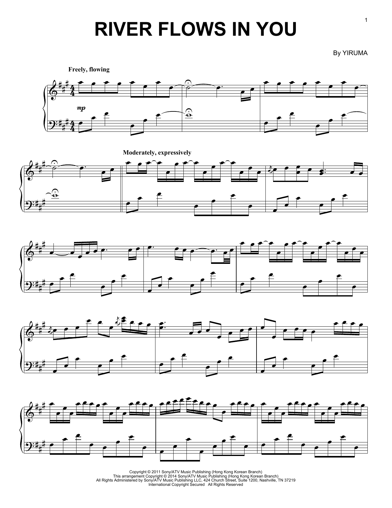 Download Yiruma 'River Flows In You' Digital Sheet Music Notes & Chords and start playing in minutes
