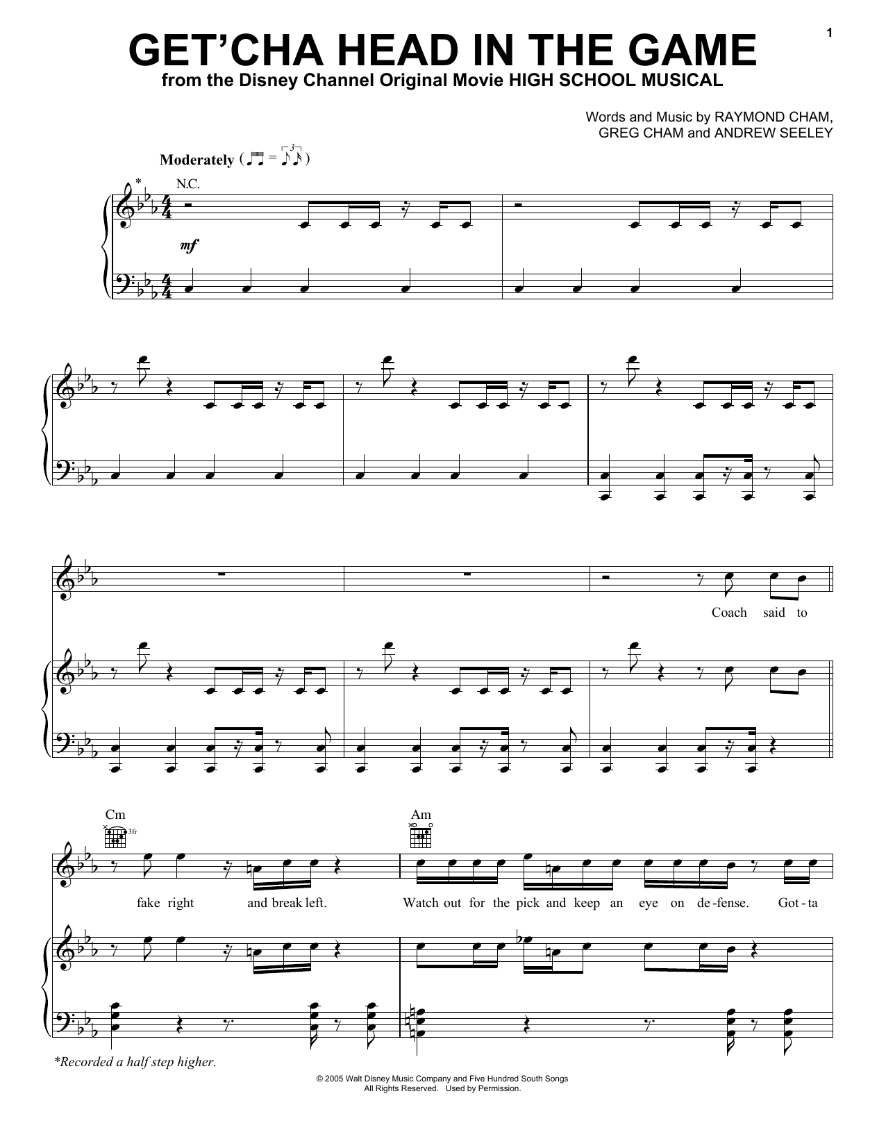 High School Musical Get'cha Head In The Game sheet music preview music notes and score for Piano Duet including 8 page(s)