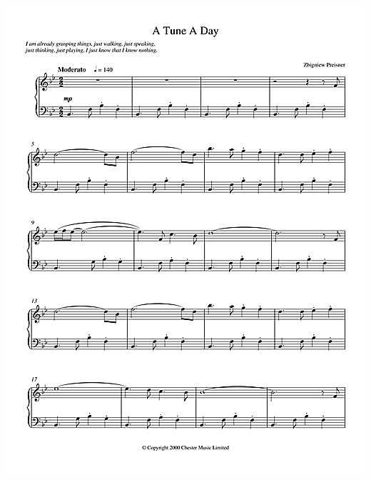 Download Zbigniew Preisner 'A Tune a Day' Digital Sheet Music Notes & Chords and start playing in minutes