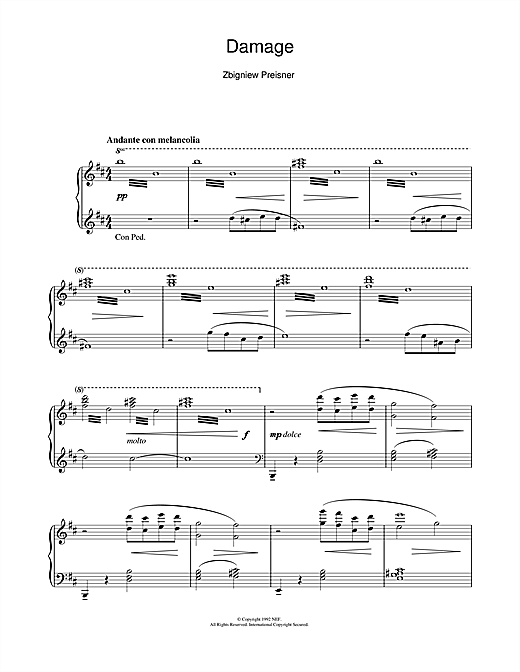 Download Zbigniew Preisner 'Damage (from the film Damage)' Digital Sheet Music Notes & Chords and start playing in minutes