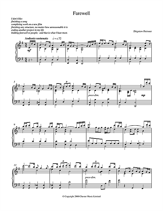 Download Zbigniew Preisner 'Farewell' Digital Sheet Music Notes & Chords and start playing in minutes