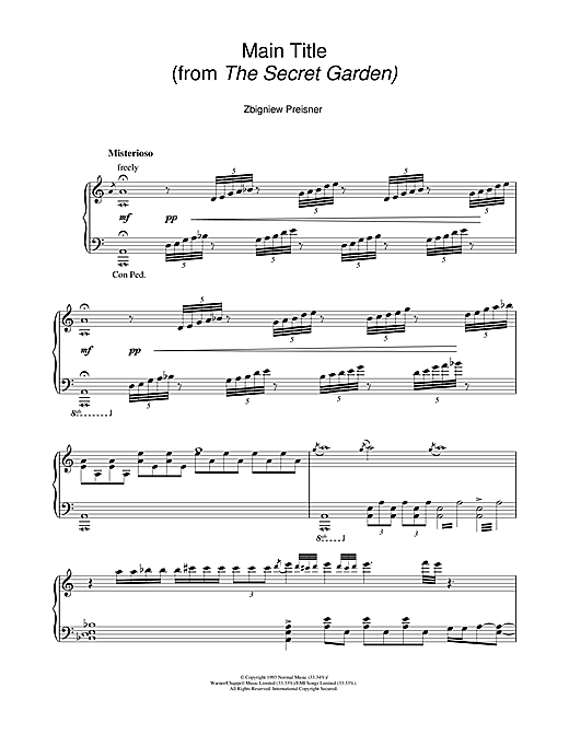 Download Zbigniew Preisner 'Main Title (from the film The Secret Garden)' Digital Sheet Music Notes & Chords and start playing in minutes