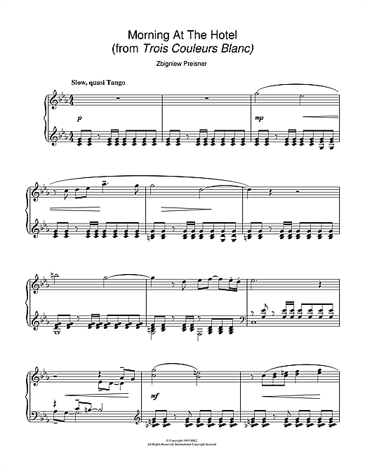 Download Zbigniew Preisner 'Morning At The Hotel (from the film Trois Couleurs Blanc)' Digital Sheet Music Notes & Chords and start playing in minutes