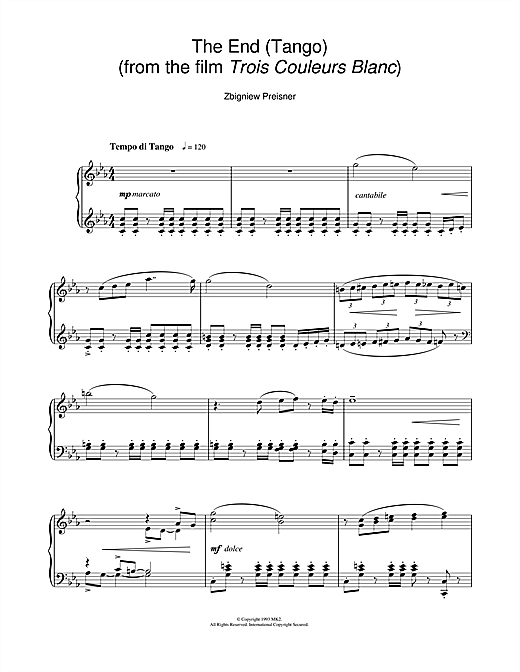 Download Zbigniew Preisner 'The End (Tango) (from the film Trois Couleurs Blanc)' Digital Sheet Music Notes & Chords and start playing in minutes
