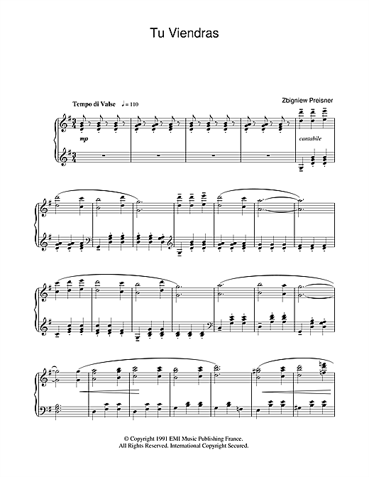 Download Zbigniew Preisner 'Tu Viendras (from La Double Vie De Veronique)' Digital Sheet Music Notes & Chords and start playing in minutes
