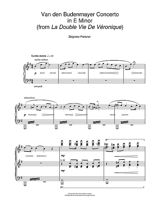 Zbigniew Preisner Van Den Budenmayer Concerto In E Minor (from the film La Double Vie De Veronique) sheet music notes and chords