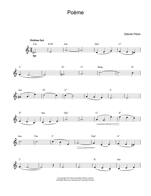 Zdenek Fibich Poeme sheet music preview music notes and score for Brass Solo including 4 page(s)