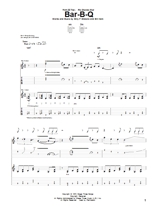 ZZ Top Bar-B-Q sheet music notes and chords