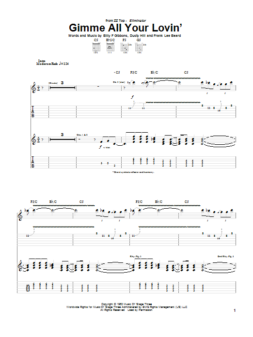 ZZ Top Gimme All Your Lovin' sheet music preview music notes and score for Bass Guitar Tab including 5 page(s)