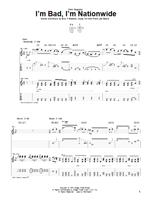ZZ Top I'm Bad, I'm Nationwide sheet music preview music notes and score for Bass Guitar Tab including 5 page(s)