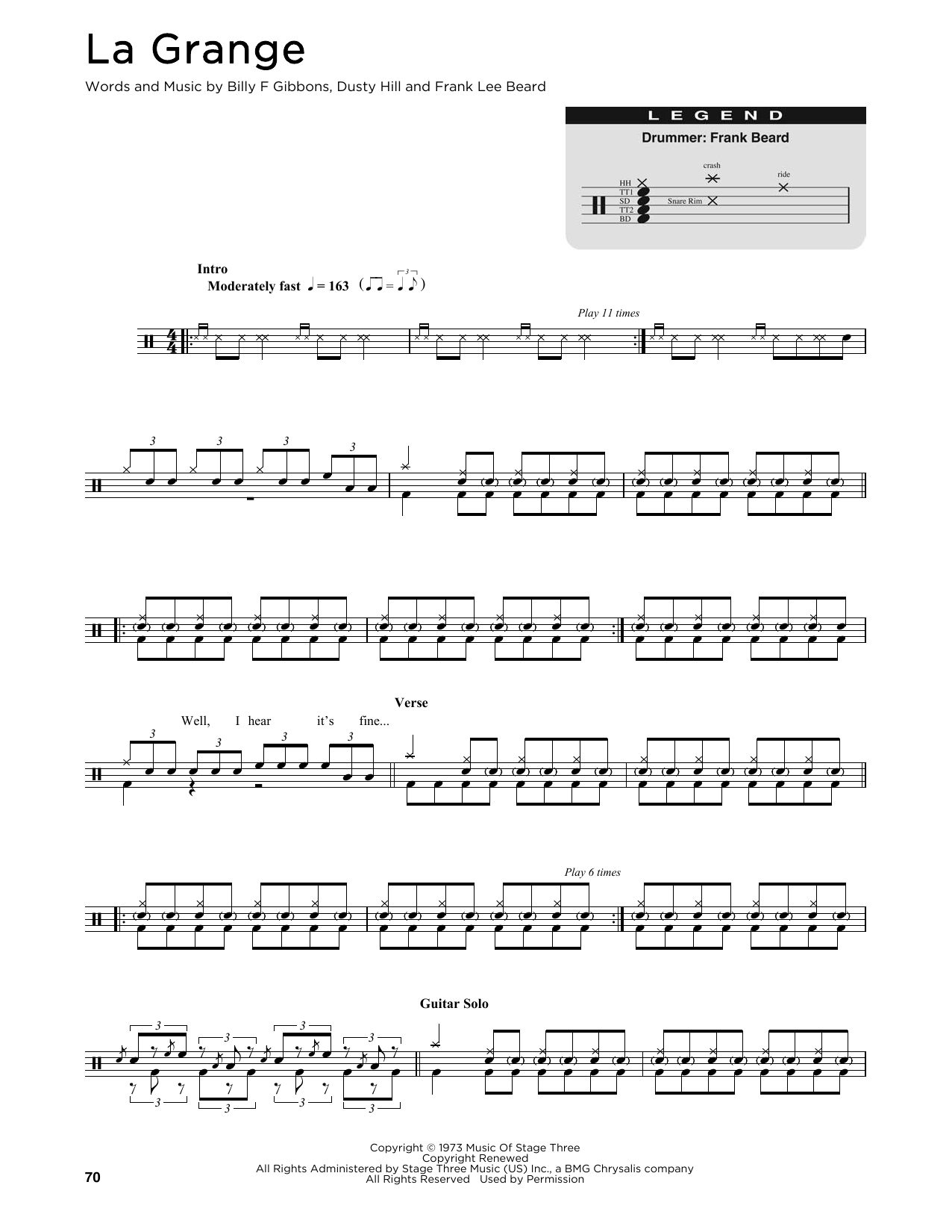 ZZ Top La Grange sheet music preview music notes and score for Guitar Tab including 10 page(s)