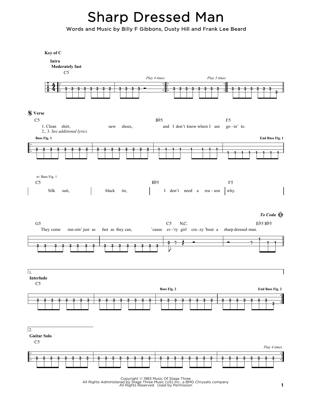 ZZ Top Sharp Dressed Man sheet music notes and chords