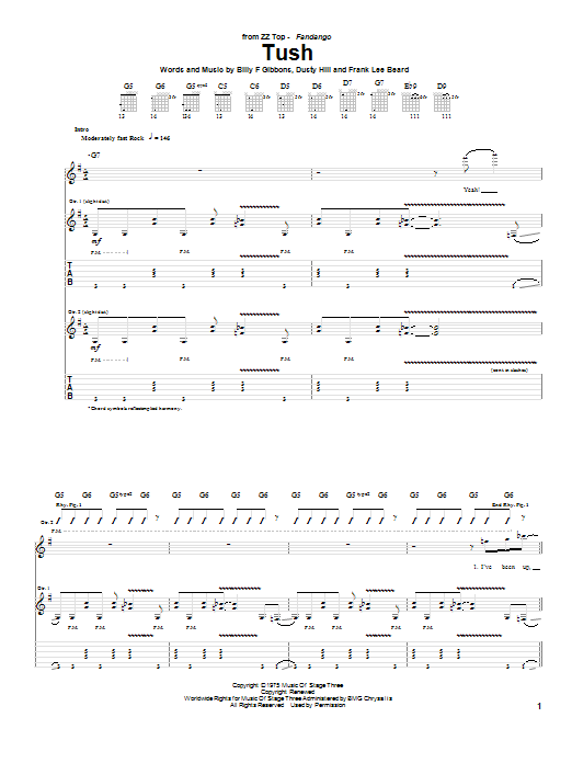 ZZ Top Tush sheet music preview music notes and score for Lyrics & Chords including 2 page(s)
